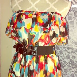 Colourful strapless hi/low dress!